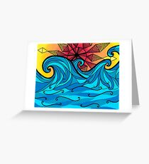Aztec sun waves Greeting Card