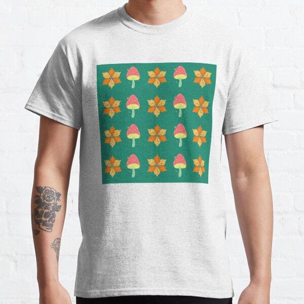 Autumn Flower and Mushroom Pattern Classic T-Shirt