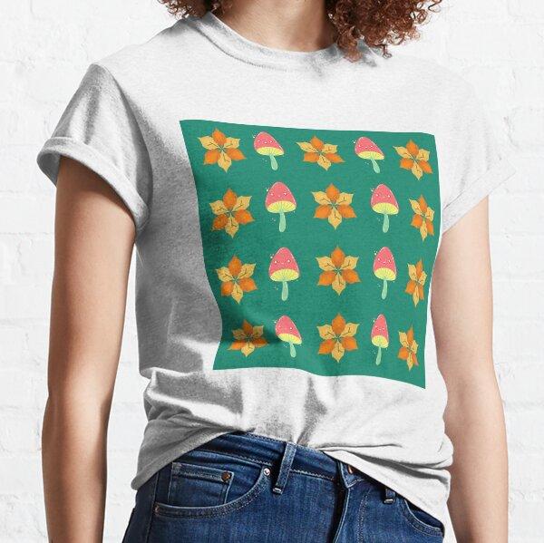 Herbstblumen- und Pilzmuster Classic T-Shirt
