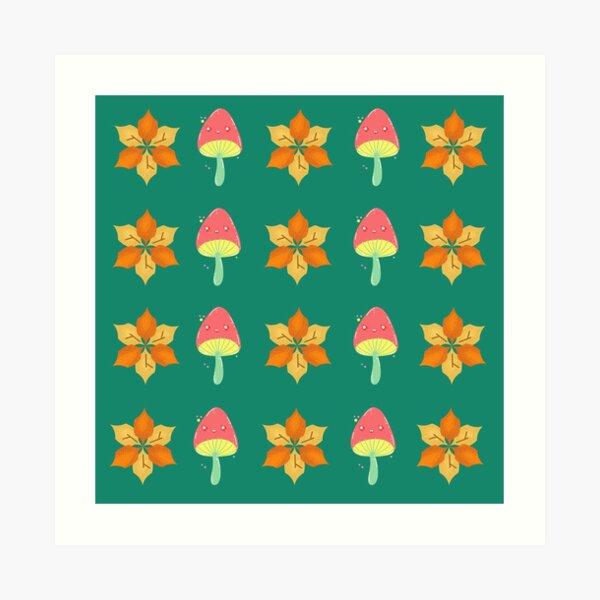 Autumn Flower and Mushroom Pattern Art Print