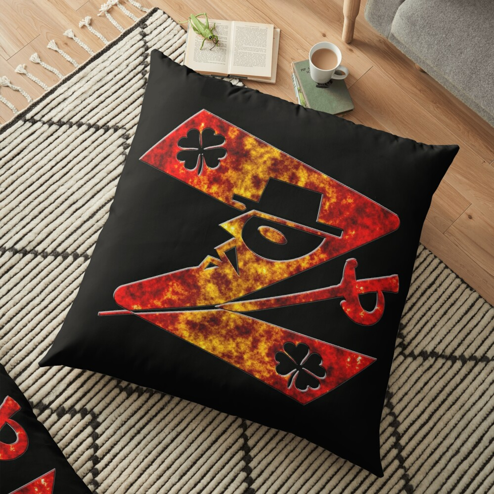 In the name of Zorro # 4-leaf clover Lucky charm - Z for Zorro with  his famous sword! Floor Pillow