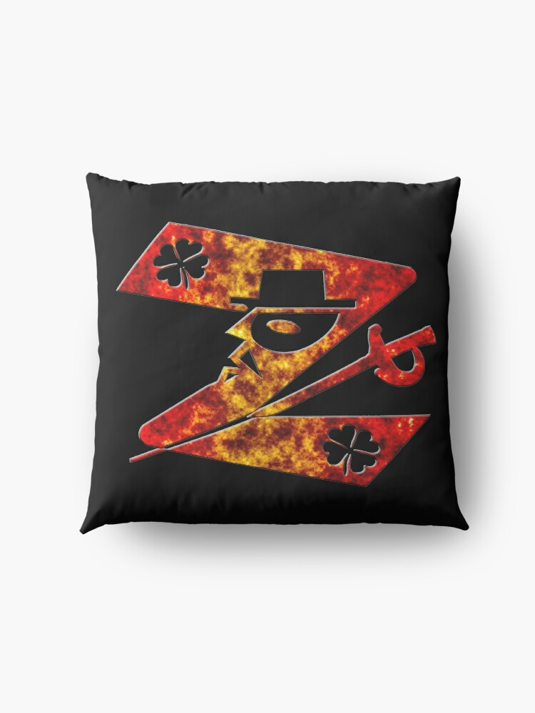 Alternate view of   In the name of Zorro # 4-leaf clover Lucky charm - Z for Zorro with  his famous sword! Floor Pillow