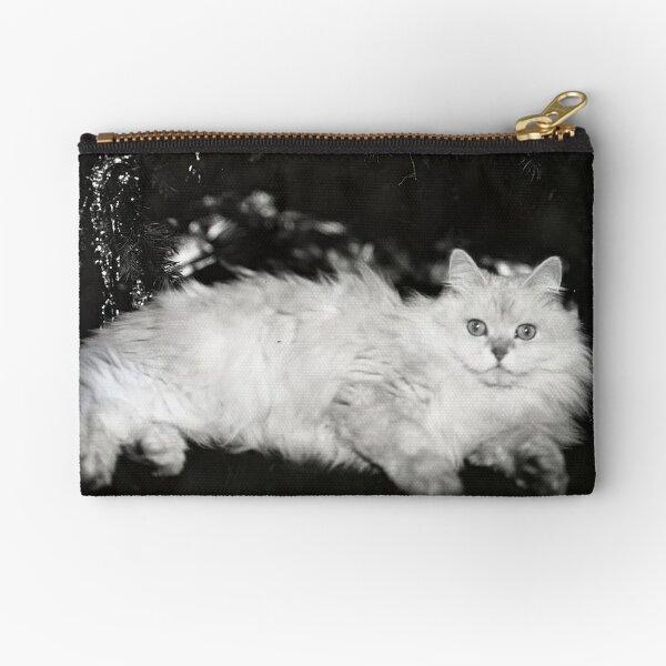 Vintage White Cat Zipper Pouch