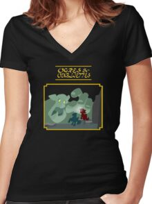 Ogres and Oubliettes - gold text Women's Fitted V-Neck T-Shirt
