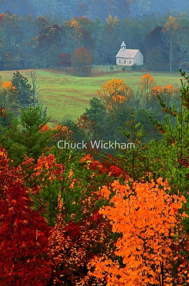 CHURCH IN FOG,AUTUMN by Chuck Wickham