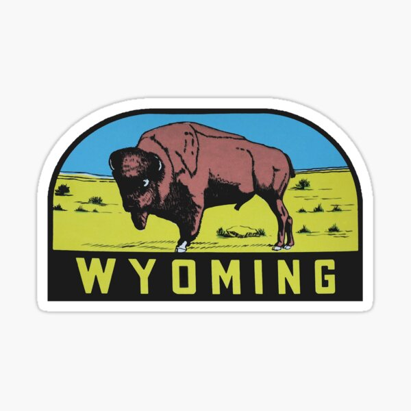 Wyoming WY State Bison Buffalo Vintage Travel Decal Sticker