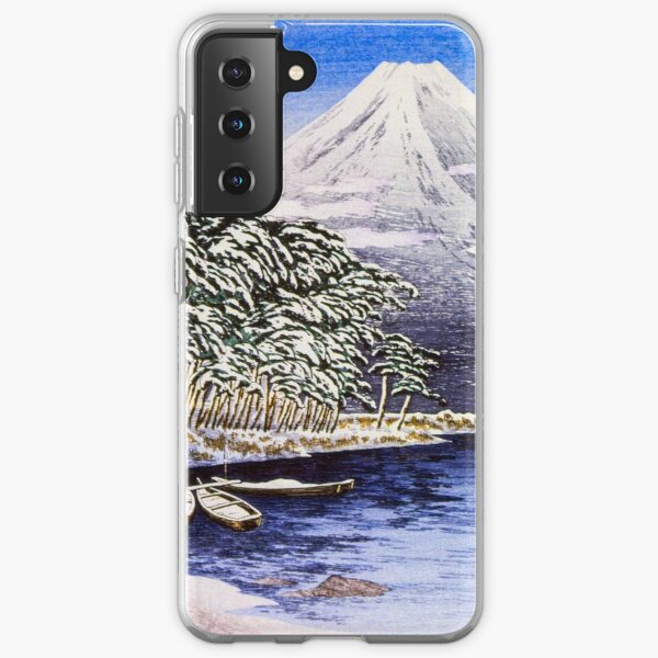 Snowcoverd Landscape at a calm Lake on the Foot on Mount Fuji Samsung Galaxy Soft Case