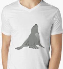 Animal cartoon line art remix sea lion Men's V-Neck T-Shirt