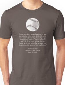 Walt Whitman - Baseball Quote (White) Unisex T-Shirt