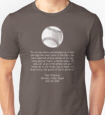 Walt Whitman - Baseball Quote (White) Unisex T-Shirt