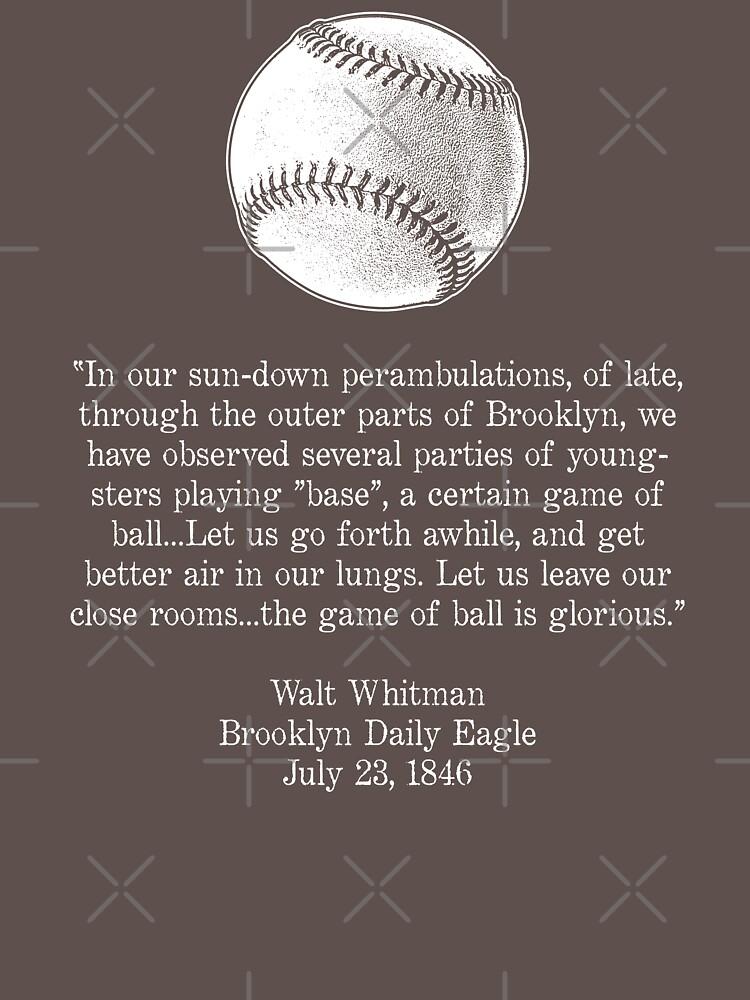 """Baseball Quote Enchanting Walt Whitman  Baseball Quote White"""" Unitshirtbyrnenyc"""