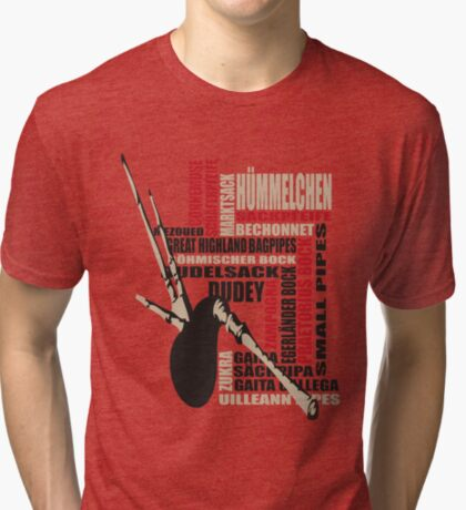 Sackpfeifen Textwolke Tri-blend T-Shirt