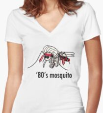 '80s Mosquito Women's Fitted V-Neck T-Shirt