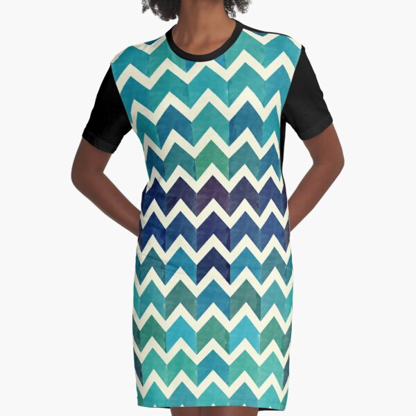 Watercolor Chevron Pattern IV Graphic T-Shirt Dress
