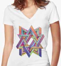 Abstract Triangles Women's Fitted V-Neck T-Shirt