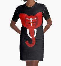 Red Elephant 3 Graphic T-Shirt Dress