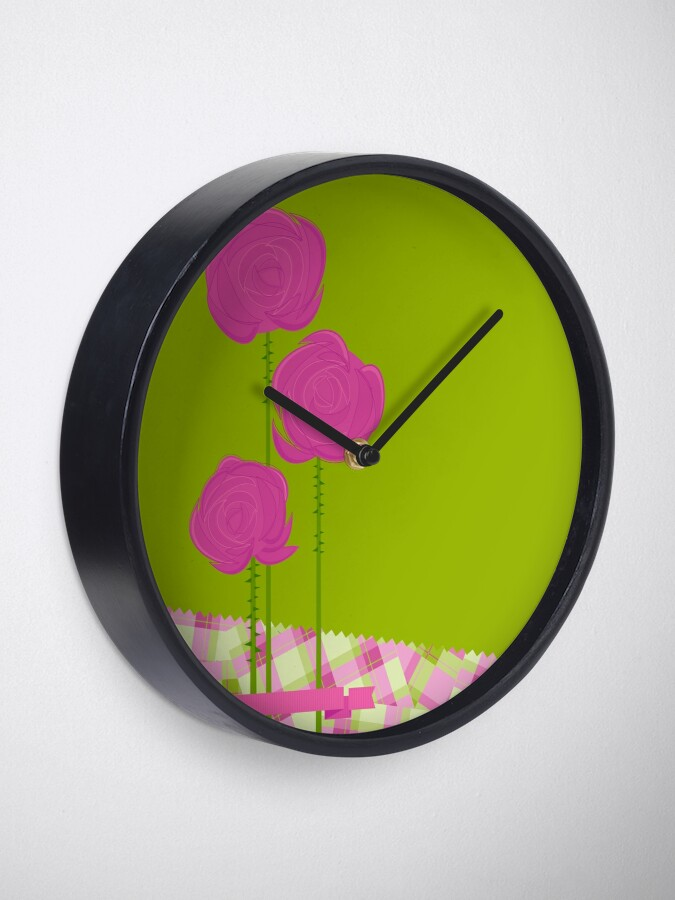 Alternate view of Pink Roses Clock