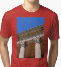 Two Corinthian columns at a temple Tri-blend T-Shirt
