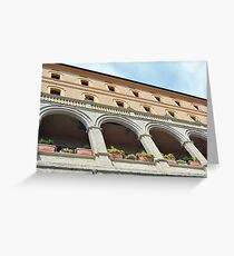 Building with columns and portico in Assisi, Italy Greeting Card