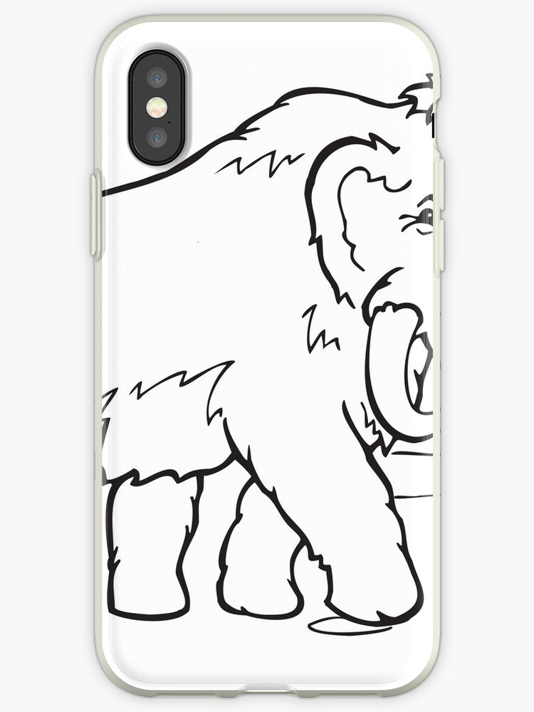 Vinilo O Funda Para Iphone Animal De Dibujos Animados Para Colorear Arte Línea Mamut De Greengoodnich