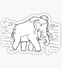 Animal cartoon colouring line art mammoth Sticker