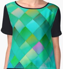 Seamless green pattern with squares.Trendy hipster print. Modern graphic design. Chiffon Top