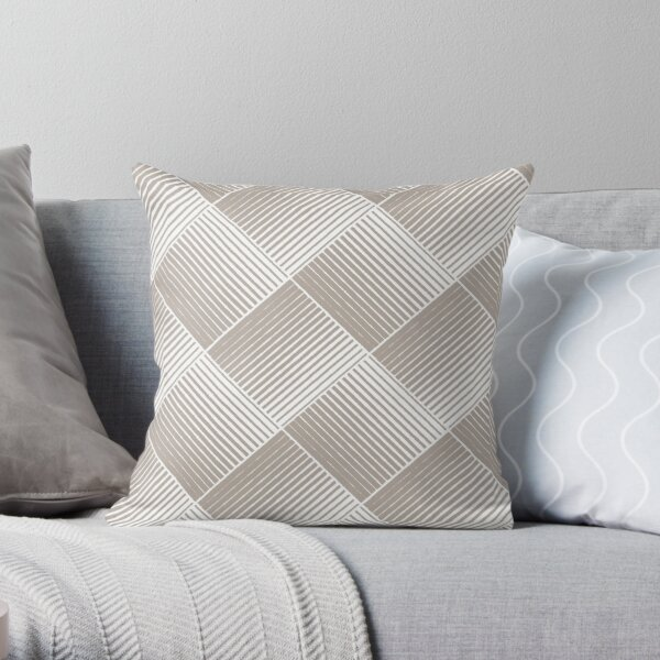 Pale Pink and White Square Mosaic Stripe Pattern Coordinates w/ Behr 2022 Popular Color Nightingale Gray N200-3 Throw Pillow