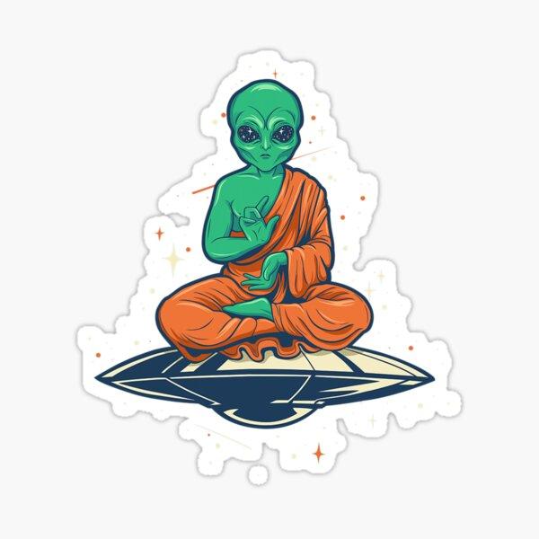 Alien Buddha Sticker