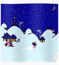 Wonderful winter landscape with bullfinch village Poster
