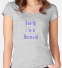 Really I'm A Mermaid Sticker Women's Fitted Scoop T-Shirt