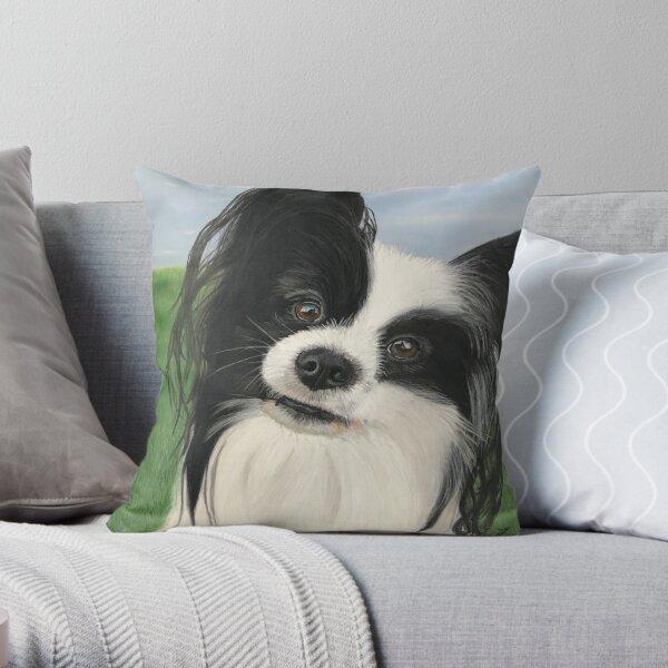 Cute papillon portrait Throw Pillow