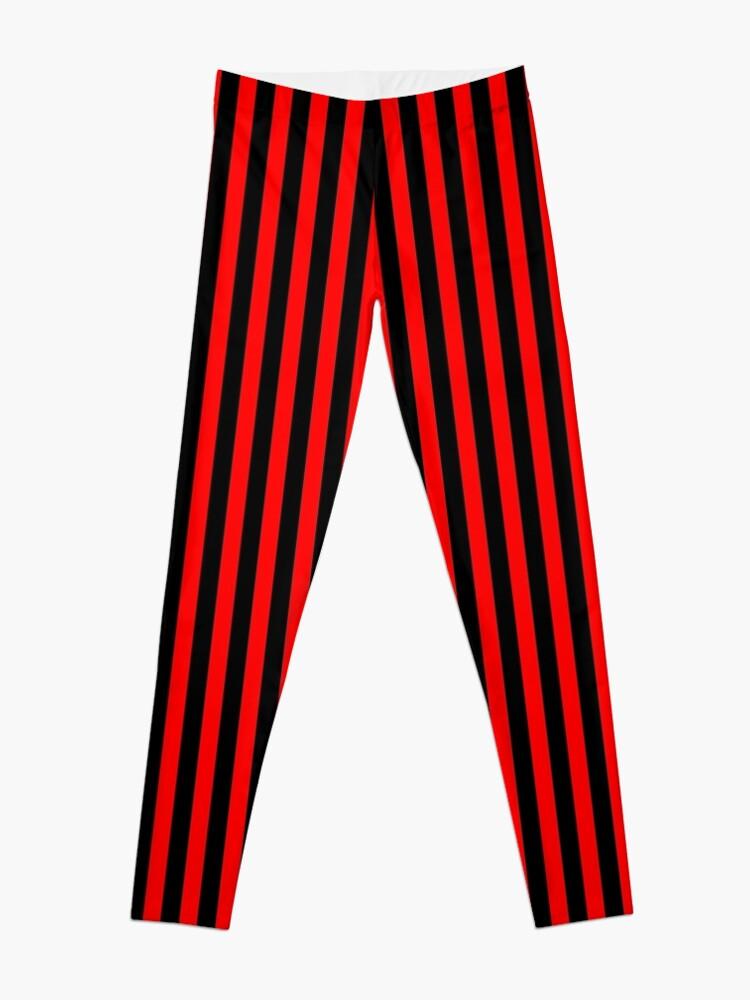 Alternate view of Thin Vertical Red Stripes on Black Easy Simple Costume Leggings