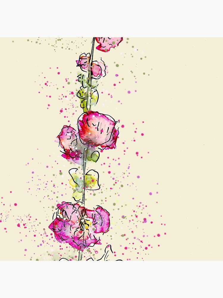 Whimsical Pink Watercolour Hollyhocks by ClareWalkerArt