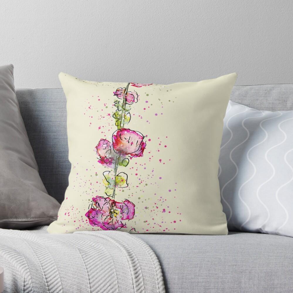 Whimsical Pink Watercolour Hollyhocks Throw Pillow