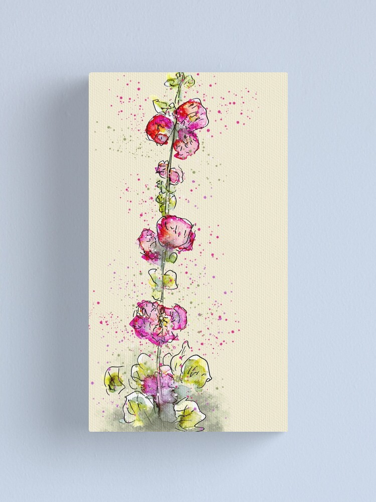 Alternate view of Whimsical Pink Watercolour Hollyhocks Canvas Print