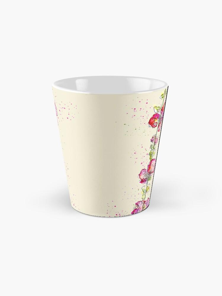 Alternate view of Whimsical Pink Watercolour Hollyhocks Mug
