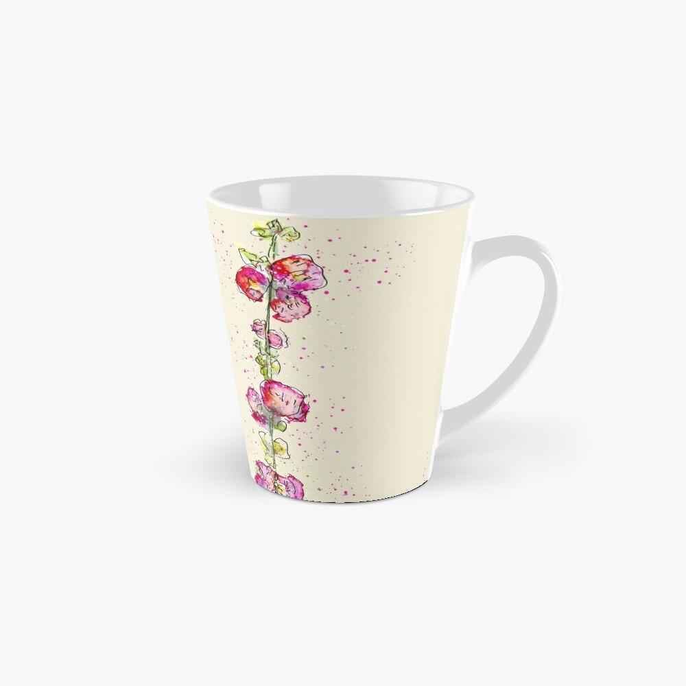Whimsical Pink Watercolour Hollyhocks Mug