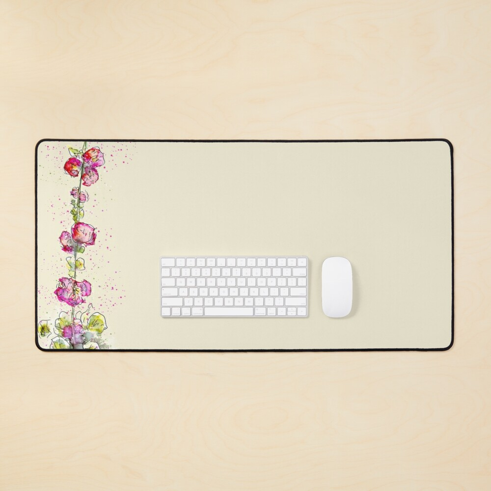 Whimsical Pink Watercolour Hollyhocks Mouse Pad