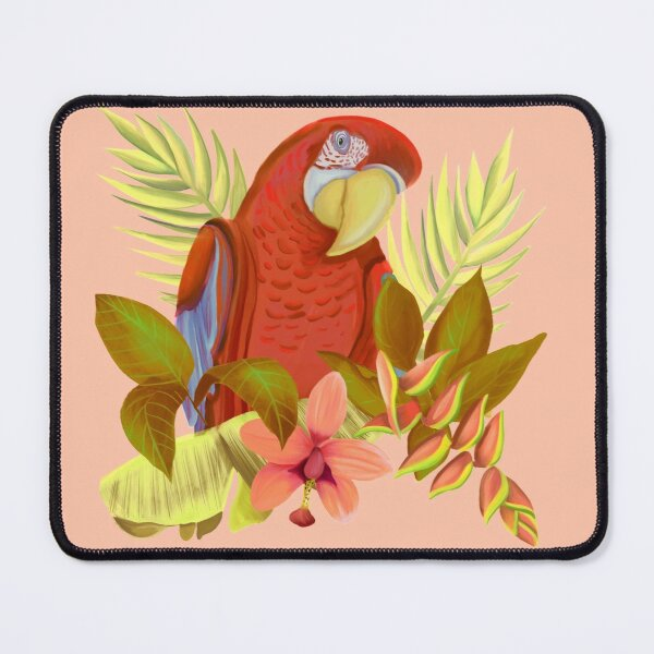 Colorful Red Amazone Parrot With Tropical Flowers And Leaves Mouse Pad