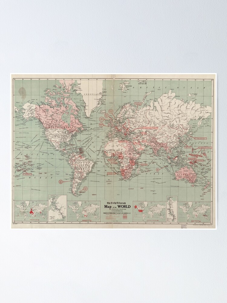 Alternate view of Vintage Map of The World (1918)  Poster