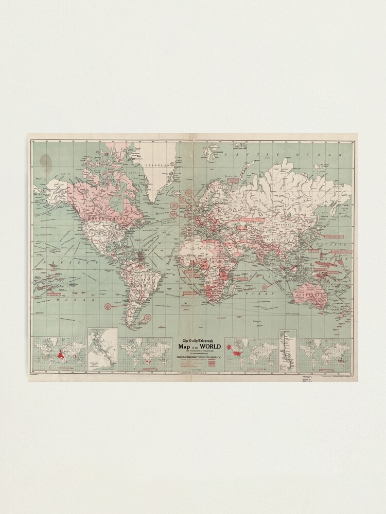 Alternate view of Vintage Map of The World (1918)  Photographic Print
