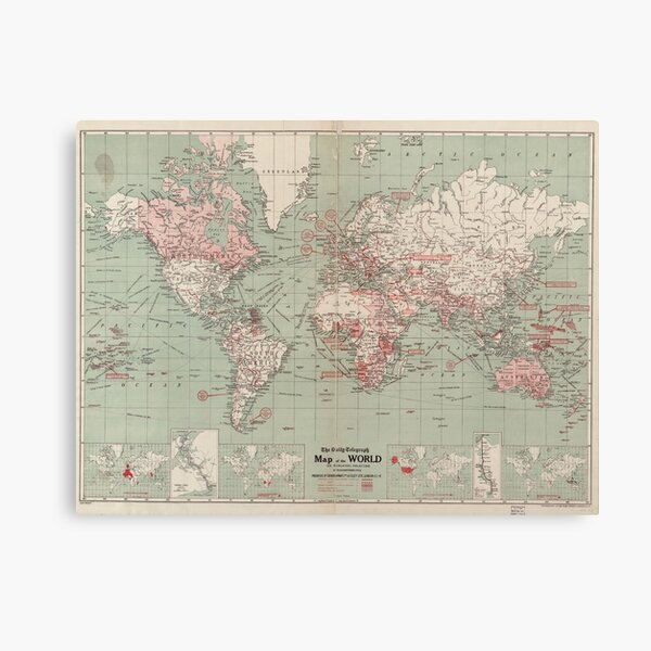 Vintage Map of The World (1918)  Canvas Print