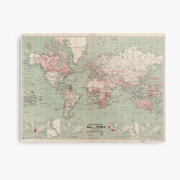 Vintage Map of The World (1918)  Metal Print