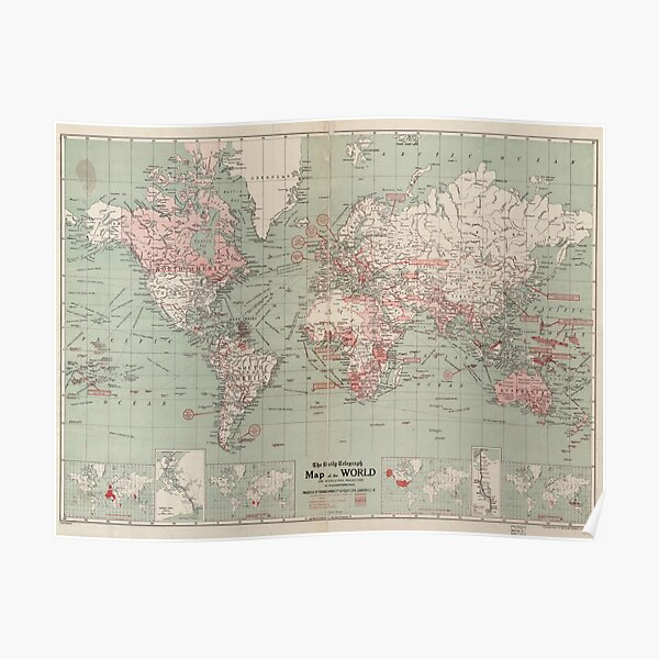 Vintage Map of The World (1918)  Poster