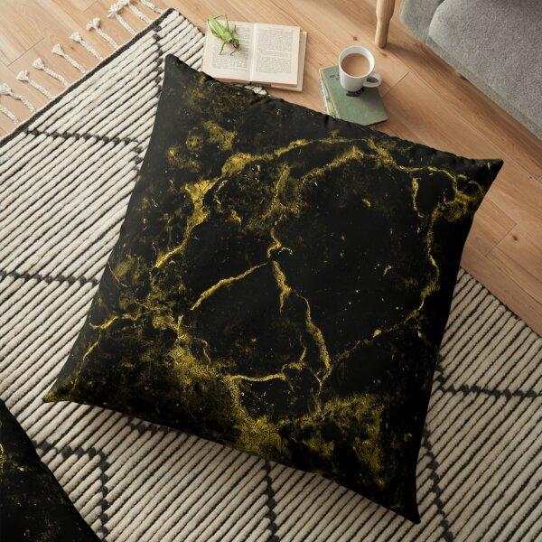 Black Gold Metallic Marble  Floor Pillow