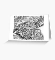 Vintage Map of Zurich Switzerland (1850) Greeting Card