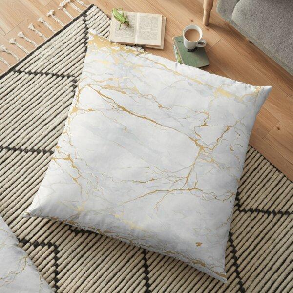 White Gold Metallic Marble Floor Pillow