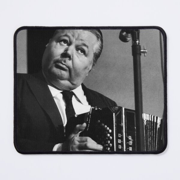 Anibal Troilo with Bandoneon Black and White Tango Portrait HD Restored Mouse Pad