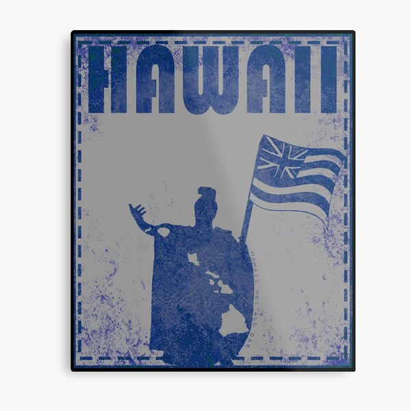 Hawai'i Unified King Kamehameha (blue ink variant) by Hawaii Nei All Day Metal Print