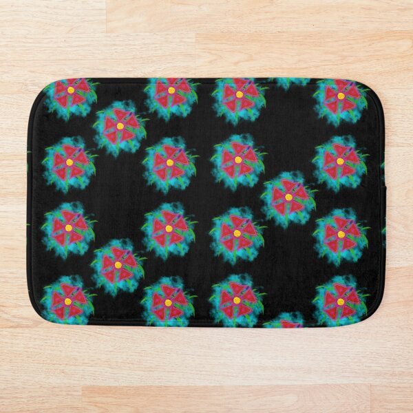 Pink Floral with Black Background Painting  Bath Mat